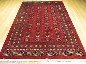 7x10 Bokhara Allover-Pattern Vegetable Dye Handmade Knotted Wool Rug 582011
