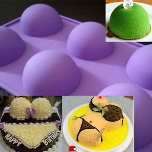 Cake Mold Soap Mold 6-Big Half Ball Round Flexible Silicone Mould For Candy A