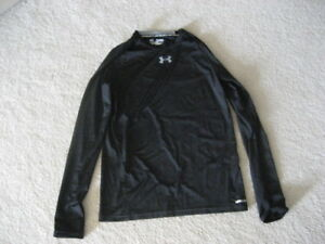 UNDER ARMOUR Boys Youth XL Long Sleeve Fitted Dry-Fit Shirt Size X-Large Black