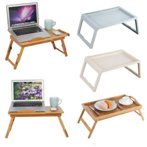 Adjustable Bed Tray Lap Desk Serving Table Folding Legs Bamboo Food Dinner