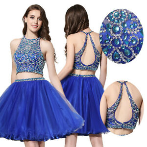 Women 2 Pieces Short Beads Prom Cocktail Party Bridesmaid Homecoming Dress Gown