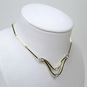 Wavy Diamond Flexible Choker Necklace 14 kt Yellow & White Gold 14 12