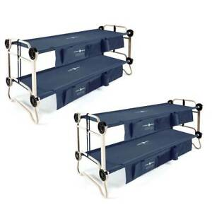 Disc-O-Bed Large Cam-O-Bunk Bunked Double Cot w Organizers Navy Blue (2 Pack)