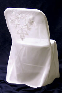 10 Pcs Folding Chair Cover, Wedding Party linens sheer with handcrafted Applique