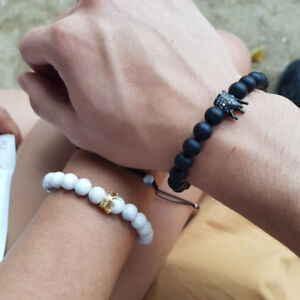 Couple King Queen Crown Bracelets His And Her Friendship Hand Knitting Bracelets $8.99