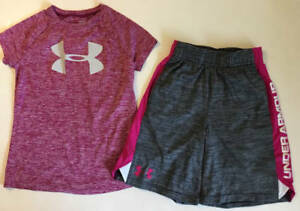 UNDER ARMOUR Girls Y SMALL 8 XS 7 UNDER ARMOUR HEAT GEAR SHIRT SHORTS OUTFIT EUC