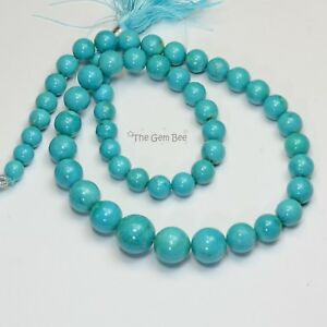 7MM-13.5MM Sleeping Beauty Turquoise Smooth Round Rondelle 18 inch stran