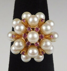 Vintage 18k Yellow Gold Pearl and Ruby Cluster Cocktail Ring- Size 6