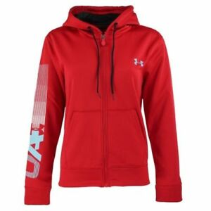New With Tags Womens Under Armour Cold Gear Logo Athletic Gym Full Zip Hoodie $34.87