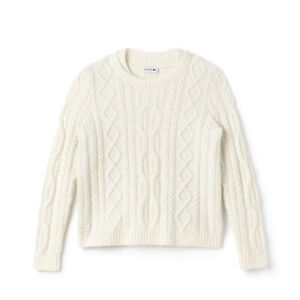 Lacoste Womens AF8781 Double Neck Cable Knitted Jumper Geode Cream