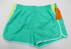 new CHAMPION #M134 Women's Size XL Lined Striped Mint Green Running Shorts