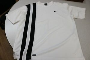 VINTAGE Nike Andre Agassi Shirt Size Medium Black Race Stripe Tennis Dri Fit