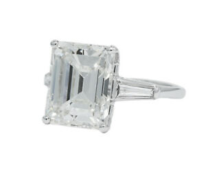 8.25CT GIA CERTIFIED EMERALD CUT DIAMOND RING BAGUETTES PLATINUM MOUNTING