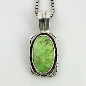 Handmade Unique Natural Green Gaspeite Sterling Silver Pendant