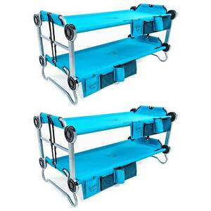 Disc-O-Bed Youth Kid-O-Bunk Benchable Camping Cot with Organizers Blue (2 Pack)