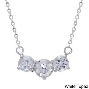 Gioelli Sterling Silver Gemstone and White Topaz 3-stone Necklace
