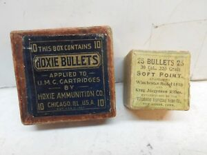 2 vintage empty bullet boxes UMC Hoxie bullets + Winchester 30 cal for mo- 1895