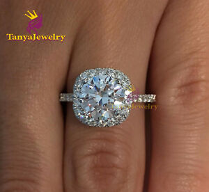 3.00 ct Round Cut VVS1 Cushion Halo Diamond Engagement Ring 14K Real White Gold