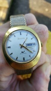 VINTAGE 1970 BULOVA AUTOMATIC MEN'S GOLD PLATED WATCH GOLD FILLED MESH BRACELET