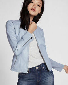 New Express (Minus The) Leather Double Peplum Jacket Horizon BluMed Retail $128
