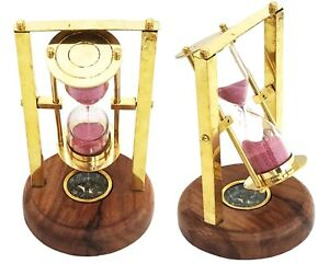 Marine Sand Timer Brass Nautical Hourglass Vintage Wooden Base With Compass $52.69