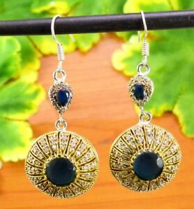 Sapphire Gemstone Victorian Turkish .925 Silver Plated Designer Earring GVE519