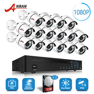 ANRAN 16CH POE Security Camera System 2MP HD Home IP Outdoor Camera Kits 3TB*2