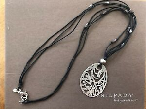 Retired Silpada Filigree Sterling Silver Pendant Black Cord Shell Necklace N1805