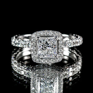 1.83ct Princess Diamond Pave Flower Design Engagement Ring GVS2 GIA Certified