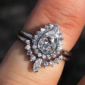 2.50Ct Pear-Cut Moissanite Halo Bridal Set Engagement Ring 10K White Gold Finish