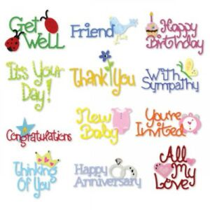 Cardmaking Sayings Sizzix Sizzlits Die Set 655710 NEW Birthday Get Well Sympathy