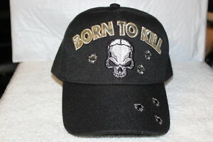 SKULL BORN TO KILL BULLET HOLE BASEBALL CAP ( BLACK )