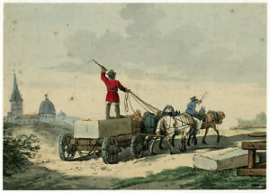 Antique Master Print-LANDSCAPE-GENRE-TRANSPORT-STONE-CART-Anonymous-ca. 1820