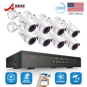 ANRAN IP CCTV Security Camera System 8CH 1080P HD POE Outdoor 21TB Network NVR