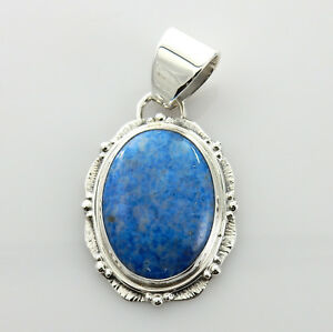 Handmade Unique Denim Lapis Sterling Silver Pendant
