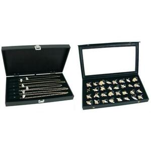 Jewelry Cases w Two Velvet Necklace Displays & 32 Slot Tray Insert Kit 5 Pcs