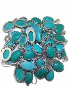 Bulk Sale 50 PCs. TURQUOISE Gemstone 925 Silver Plated Necklace Pendant Jewelry