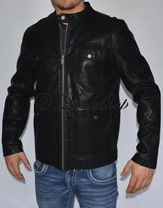 New Mens Guess Faux Leather Insulated Motorcycle Style Jacket Black Size Large
