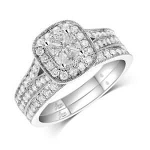 Lovecuts 14K White Gold 1 Ct.Tw.Diamond Bridal Invisible Ring