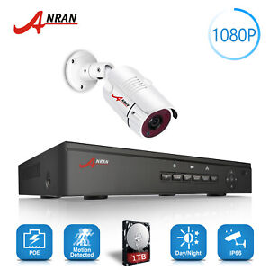 ANRAN 4CH POE NVR Security CCTV Camera System 1080P HD 1PCS HDMI 1TB HDD Wired