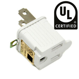 3 to 2 Prong UL Certified Adapter AC Outlet Electrical Ground Converter White
