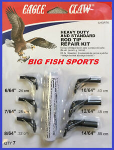 EAGLE CLAW HEAVY DUTY Fishing Rod Tip Repair Kit with Glue 7 SIZES Pole Guides