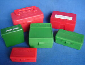 LOT 6 PLASTIC 50100 RD AMMO STORAGE BOXES RIFLE & PISTOL CALIBERS 223 9mm 44