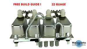 Standard 4 Compartment Sink Set With Drain Trap - Concession Stand Food Trailer