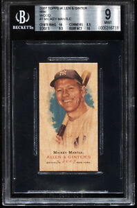 MICKEY MANTLE 2007 TOPPS ALLEN & GINTER WOOD MINI 11 MASTERPIECE BGS 9