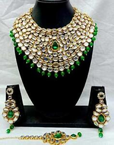 Indian Fashion Pearl Gold FN Green Kundan Bollywood Bridal Jewelry Necklace Set