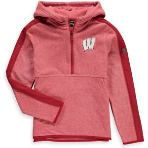 Wisconsin Badgers Under Armour Youth Microfleece 14-Zip Hoodie - Red