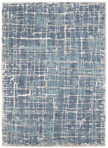 Karastan Blue Rows Crosshatch Banded Contemporary Area Rug Geometric 91677 90121