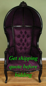 Black Finish Porter Chair w Purple Velour -Balloon Bonnet Canopy Dome Throne