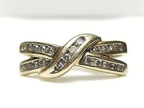 real diamond ring 10k yellow gold vintage estate womens size